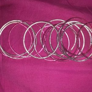 Silver and pink glitter bangles/bracelets